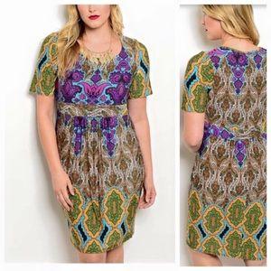 Dresses & Skirts - 🆕colorful print short sleeve dress